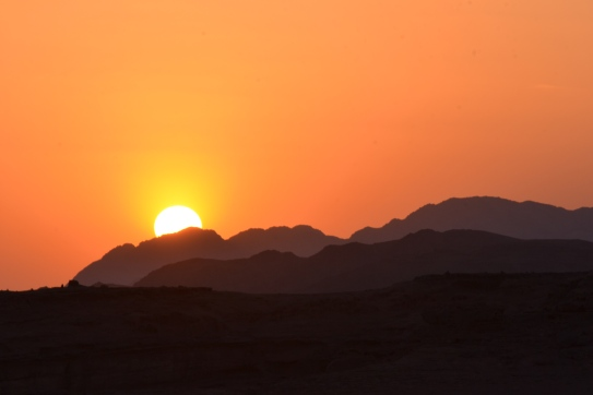 Sunset over Wadi Rum Desert