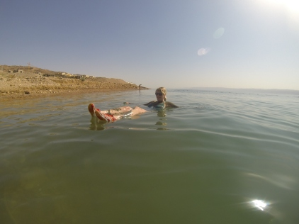 Molly floating in the Dead Sea