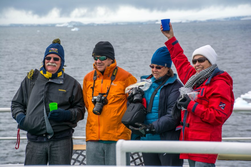Celebrating crossing the Antarctic Circle